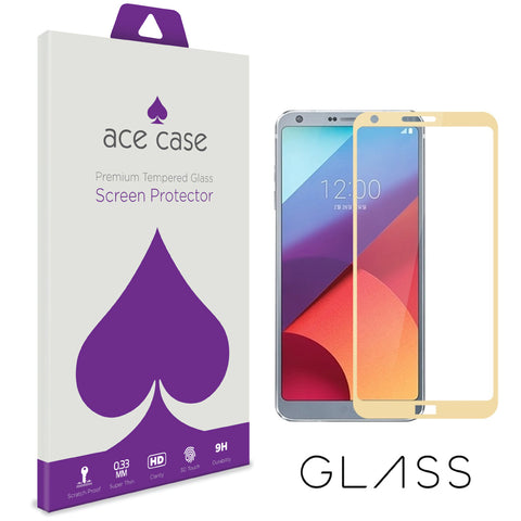 LG G6 Tempered Glass Screen Protector - GOLD Full 3D Edge to Edge Coverage by Ace Case