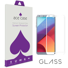 LG G6 Tempered Glass Screen Protector - WHITE Full 3D Edge to Edge Coverage by Ace Case