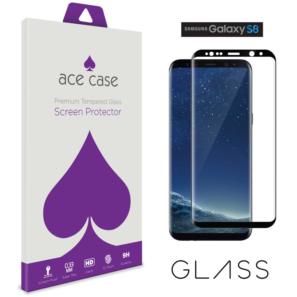 Samsung Galaxy S8 Tempered Glass Screen Protector - BLACK Full 3D Edge to Edge Coverage by Ace Case