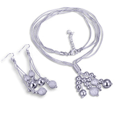 Plated Silver 3 Strand Bead Necklace and drop Earrings set.