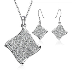 Square Diamanté Necklace and Earring set.