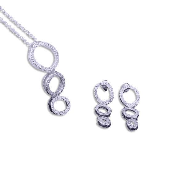Oval Diamanté Necklace and Earring set.