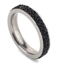 2 Full Row Black Crystal Stainless Steel Ring