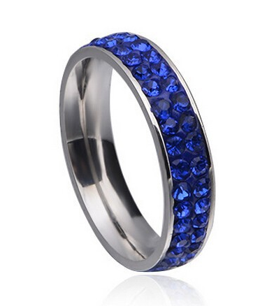 2 Full Row Blue Crystal Stainless Steel Ring