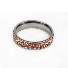 3 Row Light Peach Stainless Steel Ring.