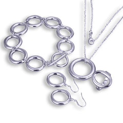 Plated Silver Oval Necklace, Bracelet and Earring drop set.