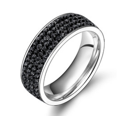 4 Full Row Black Stainless Steel Ring