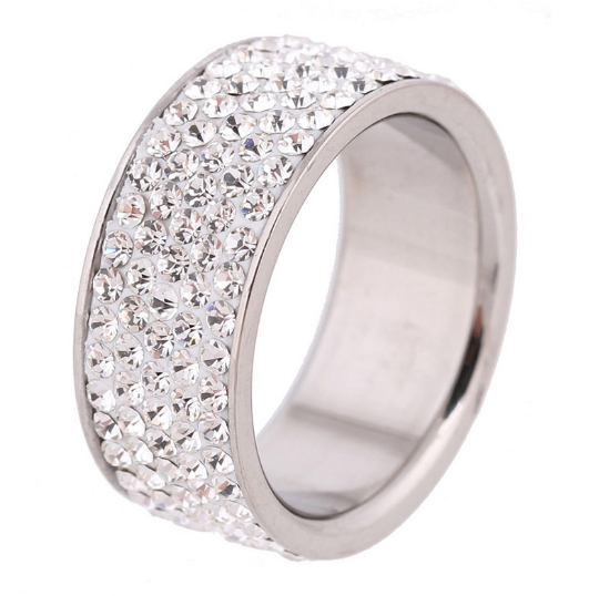 5 Full Row White Crystal Stainless Steel Ring