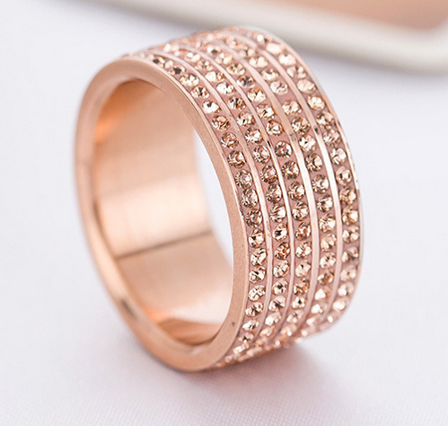 5 Full Row Rose Gold Wide Stainless Steel Ring