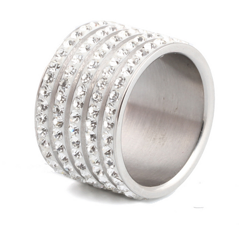 5 Full Row White Wide Stainless Steel Ring