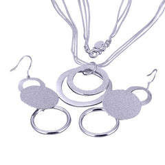 Plated Silver Round Two-tone Necklace and Earring set.
