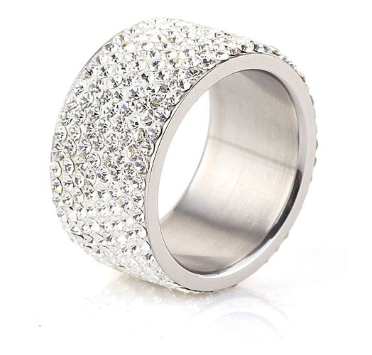 8 Full Row White Crystal embellished Stainless Steel Ring