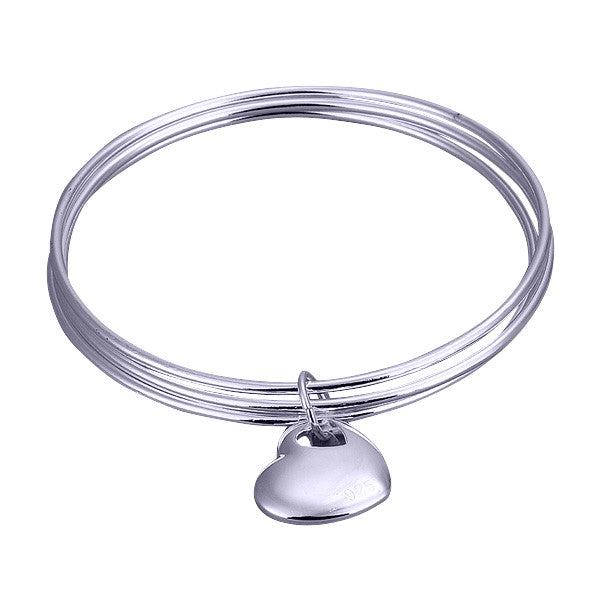 Silver Plated 3 in 1 Bangle Bracelet with heart pendant.