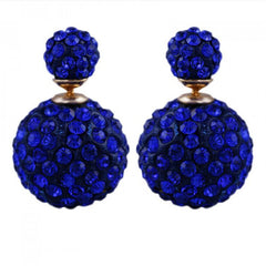 Two-sided Rhinestone Cobalt Blue Earrings.