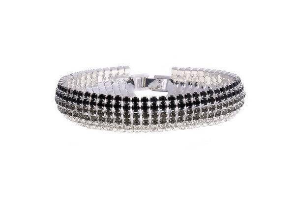 Tennis Bracelet - Embellished with Swarovski crystals and rhodium plated. 6 row