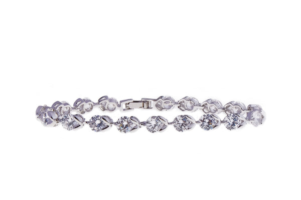 Tennis Bracelet - Embellished with Swarovski crystals and rhodium plated.