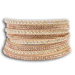 Wrap around leather rhinestone bracelet  - Beige.