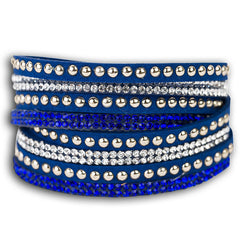 Wrap around leather rhinestone bracelet  - Blue.