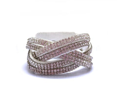 White Crossover Tones Leather Rhinestone Bracelet.