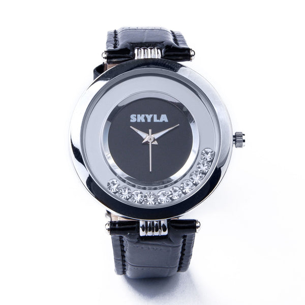 Skyla Jewels Black Diamante Ladies watch- Silver/Black Dial