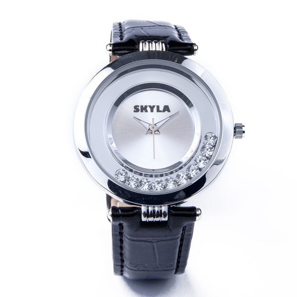 Skyla Jewels Black Diamante Ladies watch - Silver Dial