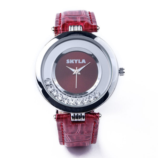 Skyla Jewels Deep Red Diamante Ladies watch
