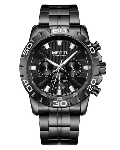 Skyla Jewels Megir Men's Black Stainless Steel Full Chronograph Watch