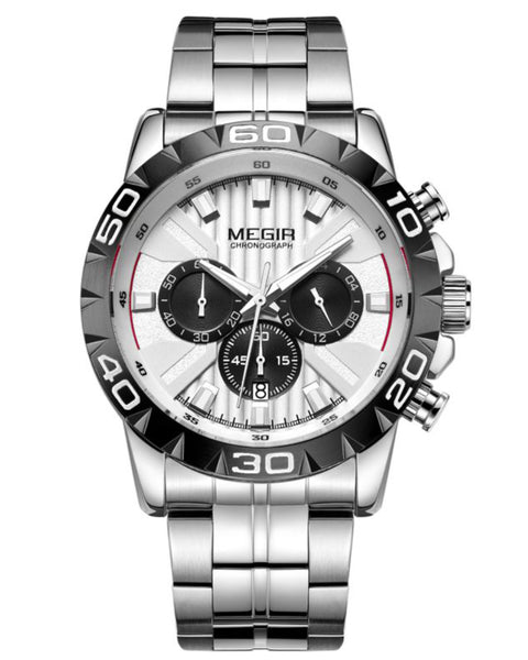 Skyla Jewels Megir Men's Stainless Steel Full Chronograph Watch
