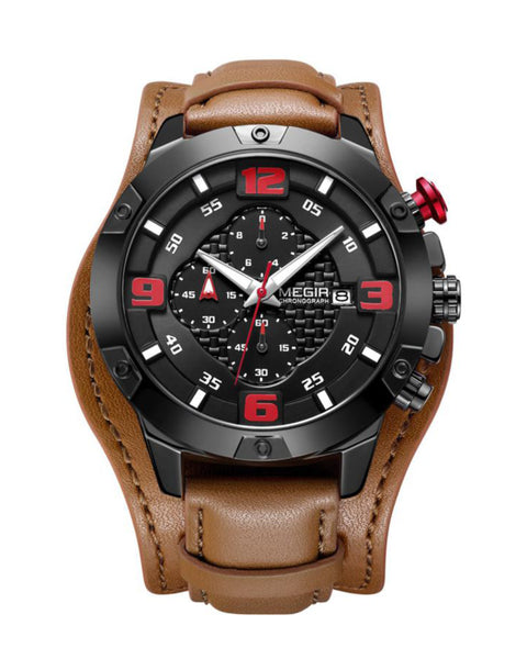 Skyla Jewels Megir Men's Army style Full Chronograph Watch - Red