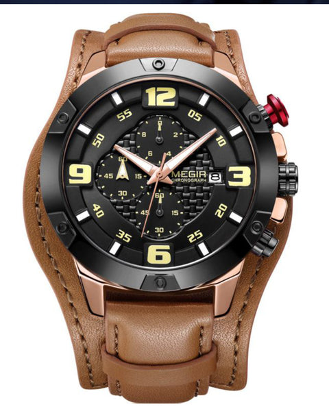 Skyla Jewels Megir Men's Army style Full Chronograph Watch - Yellow