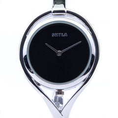 Skyla Jewels Tear Drop Silver Bangle Watch - Black Face with Silver Trim