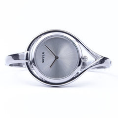 Skyla Jewels Tear Drop Silver Bangle Watch - Silver Face with Silver Trim