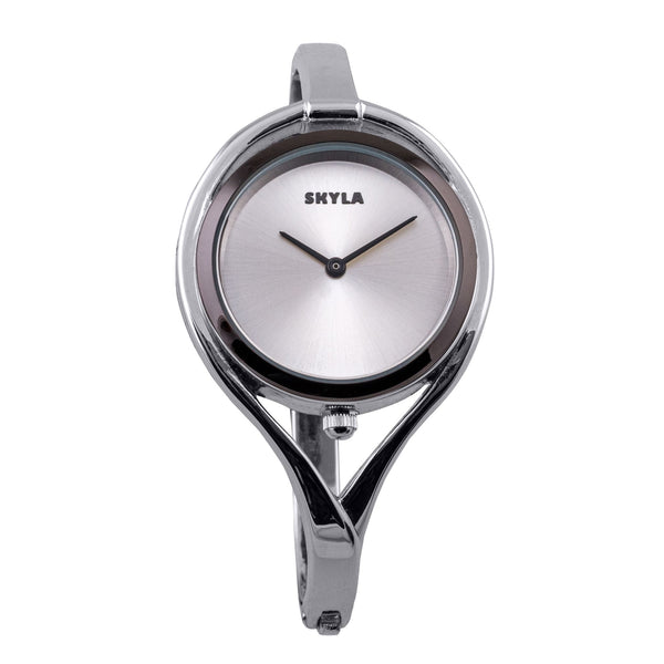 Skyla Jewels Tear Drop Silver Bangle Watch - Silver Face with Black Trim