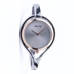 Skyla Jewels Tear Drop Silver Bangle Watch - Silver Face with Rose Gold Trim