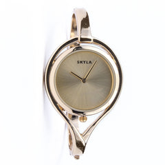 Skyla Jewels Tear Drop Gold Bangle Watch - Gold Face with Gold Trim