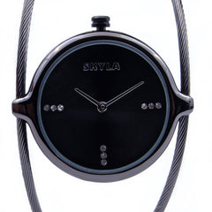 Skyla Jewels Ladies Dual Strand Bangle Watch in Charcoal with Black Dial