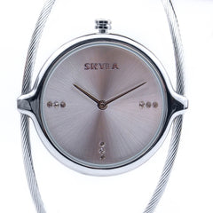 Skyla Jewels Ladies Dual Strand Bangle Watch in Silver with Silver Dial