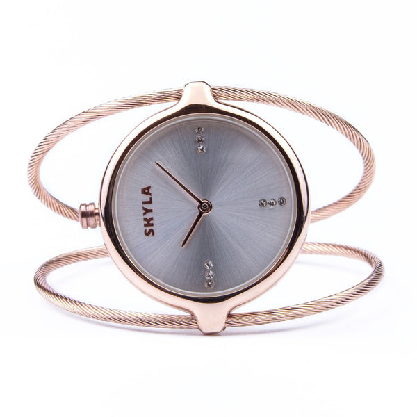 Skyla Jewels Ladies Dual Strand Bangle Watch in Rose Gold with Silver Dial