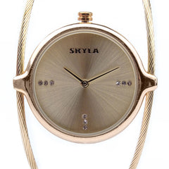 Skyla Jewels Ladies Dual Strand Bangle Watch in Gold with Gold Dial