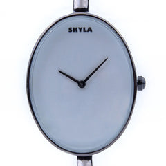 Skyla Jewels Ladies Oval Bangle Watch in Black with White Dial