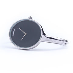 Skyla Jewels Ladies Oval Bangle Watch in Silver with Black Dial