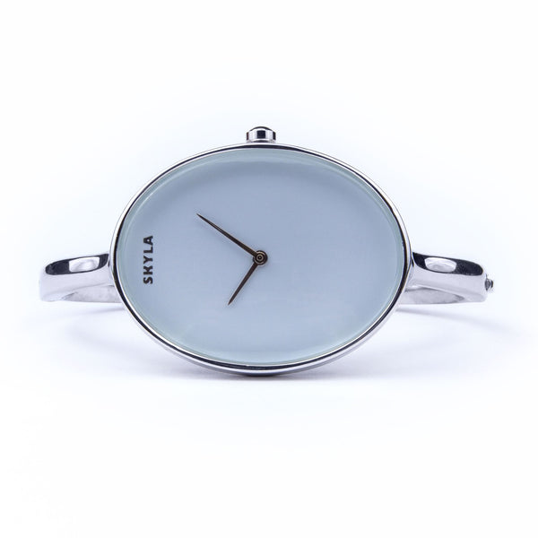 Skyla Jewels Ladies Oval Bangle Watch in Silver with White Dial