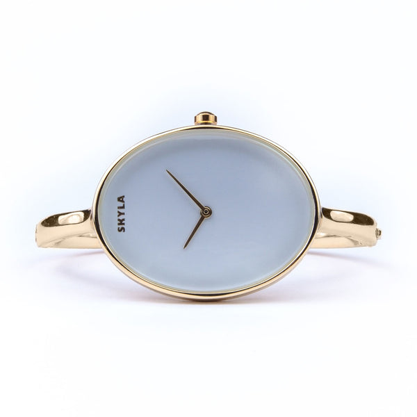 Skyla Jewels Ladies Oval Bangle Watch in Gold with White Dial