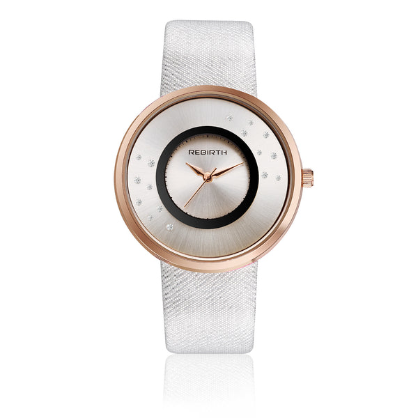 Rebirth Luxury Ladies Watch Rose Gold Case - White