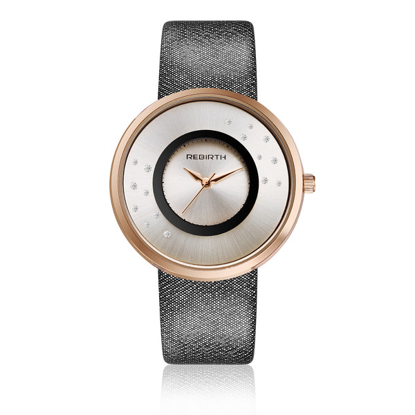 Rebirth Luxury Ladies Watch Rose Gold Case - Black
