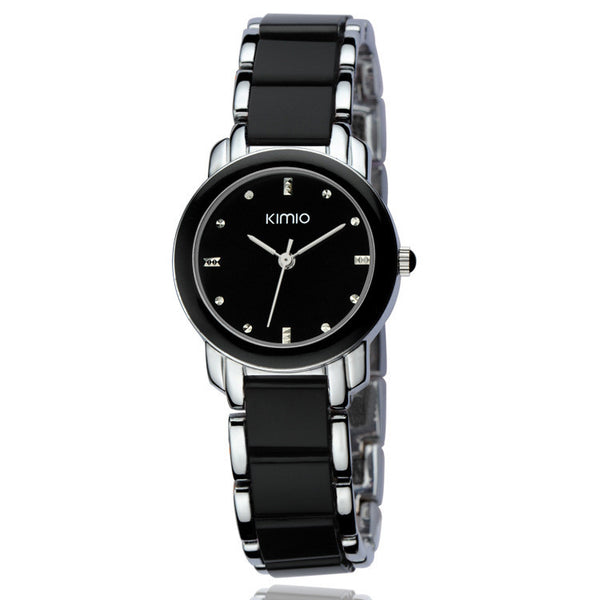 Kimio Luxury Fashion Ladies  Quartz Watch - Stainless Steel Black.