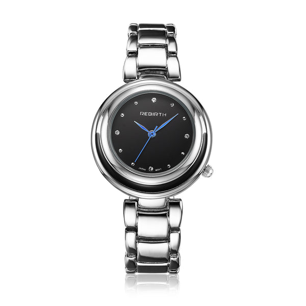 Rebirth Luxury Ladies Stainless Steel Quartz Watch - Black