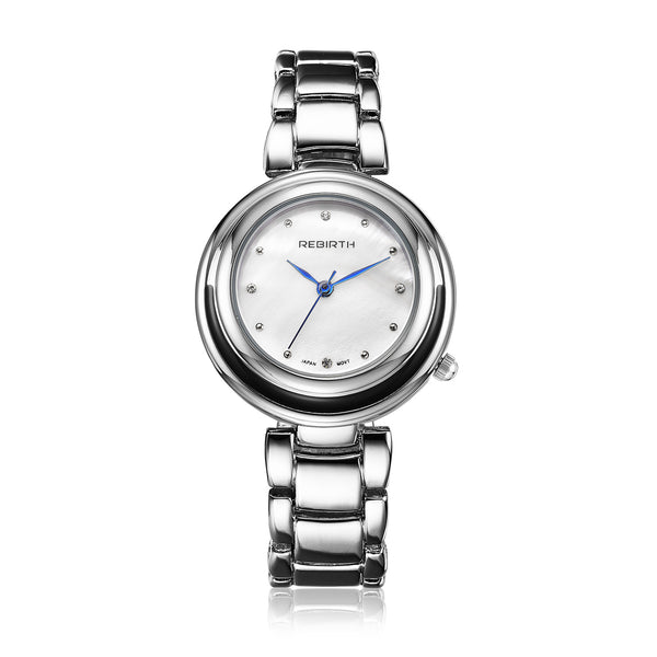 Rebirth Luxury Ladies Stainless Steel Quartz Watch - White