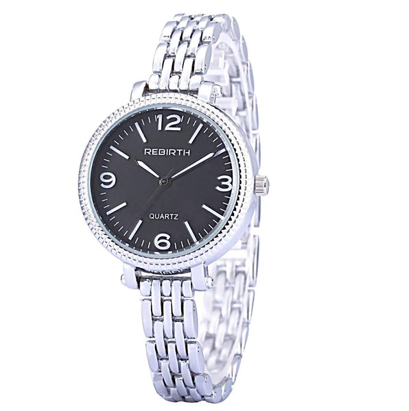 Rebirth Classic Luxury Ladies Stainless Steel Quartz Watch - Black