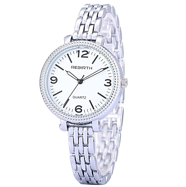 Rebirth Classic Luxury Ladies Stainless Steel Quartz Watch - White